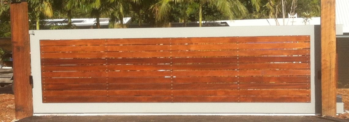 Aluminium Framed Sliding Gate with Natural Wood Cladding