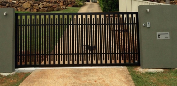 A Custom Black Aluminium Sliding Gate with Video Intercom System & Access Control