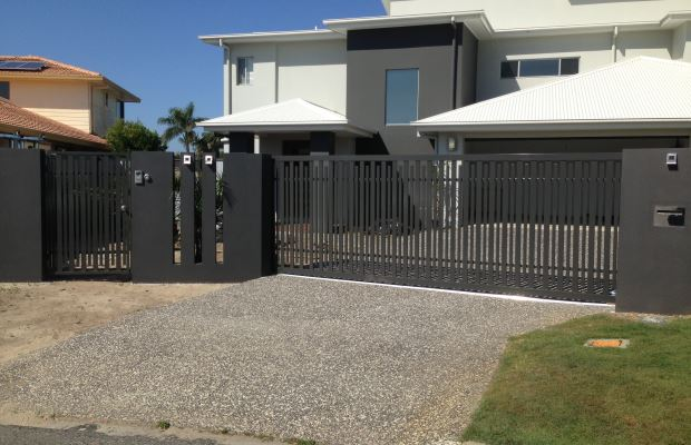 Custom Black Aluminium Sliding PA Gate with Access Control, Gold Coast