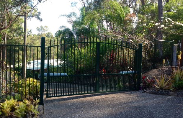 Heritage Green Custom Double Swing Gates with Spear Tops and Fencing
