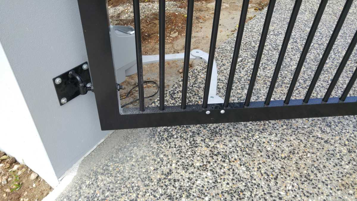 Automatic gate installation work in progress