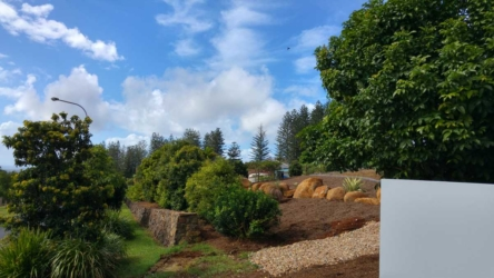 Landscaping in progress at a Terranora automatic gate install